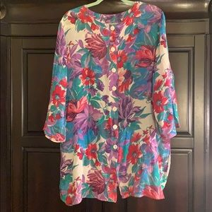 Copycats oversized floral cotton top